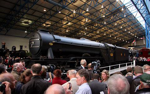 The Flying Scotsman being unveiled to the public at the National Railway Museum last May, but delays have continued with the full restoration