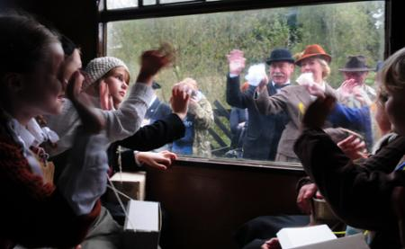 'Evacuees' are waved off at Pickering Station