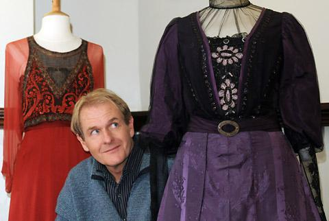 Downton Abbey actor Robert Bathurst with two of the costumes in the Barley Hall exhibition, and right, as Sir Anthony Strallan in the popular TV drama