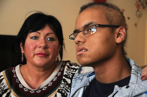 Lewis Thornton, 18, with his mother, Rebecca Thompson