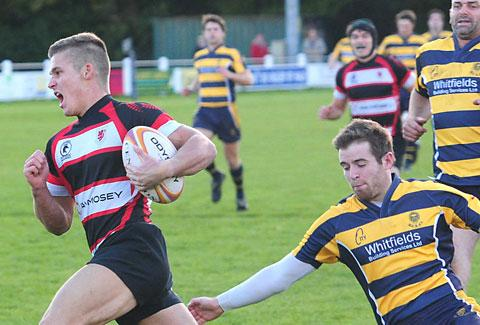 Malton & Norton winger Tom Newitt heads for the try line in his side's 55-0 thrashing of Durham City at The Gannock in North One East
