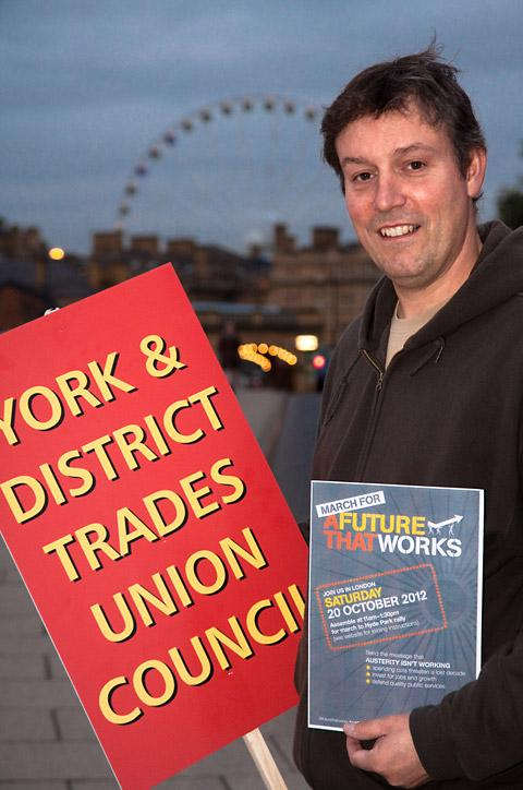 Brian Clark, vice president of Yorks Trades Council, who is taking part in the TUC organised March For The Future  in London. Picture by Ann Czernik