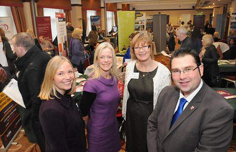 At the jobs fair are, from left, Julia Davies (Job Centre Plus), Julia Massey (Learning City York), Diane Reasbeck  (Future Prospects) and City of York Council leader James Alexander