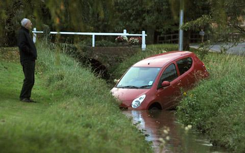 The car partially submerged in Osbaldwick Beck