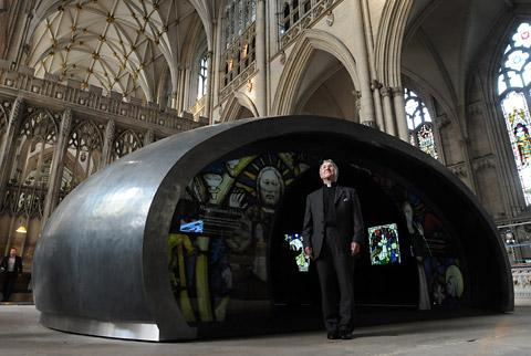 The former Acting Dean of York, Glyn Webster, outside the Orb in York Minster in October last year