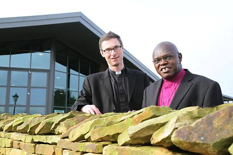 The new Bishop of Whitby, the Rev Philip North, with the Archbishop of York, Dr John Sentamu, at Thirsk Auction Mart where the announcement was made