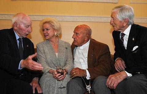 From left John Surtees, playwright Susan Watkins, Sir Stirling Moss, and Guinea Pig Club        member Sandy Saunders