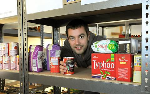 York Foodbank manager Caleb Ellwood in the food store at the Gateway Centre in Acomb