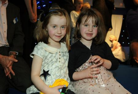 Ella (left) and Juliet Taylor, two of the Child of the Year winners on stage at the Community Pride Awards.
