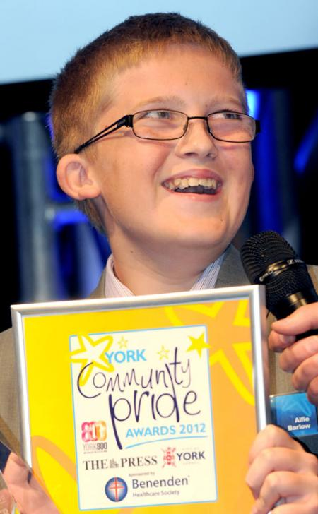 Spirit of Youth winner Alfie Barlow at the Community Pride Awards