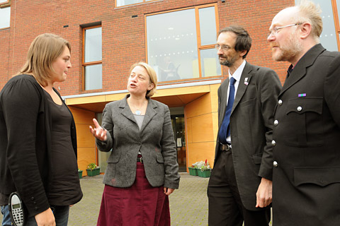 From left, senior support worker Kelly Cunningham chats with Green Party leader Natalie Bennett and City of York councillors Andy D'Agorne and Dave Taylor at the Arclight hostel for the homeless, in Union Terrace, York
