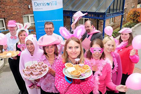 Charlotte Haigh and fellow members of staff take part in a charity Wear It Pink day at Denison Till solicitors in York