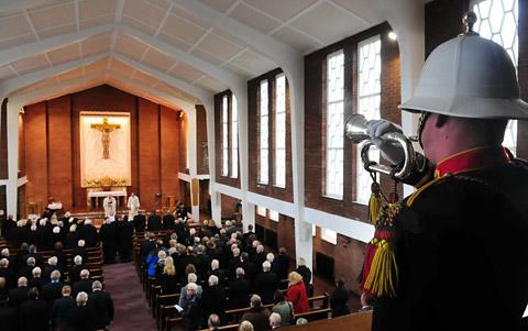 Last Post is played at the funeral of Terry Halder at St Aelred's church in York