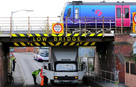 Lorry trapped under bridge on Leeman Road