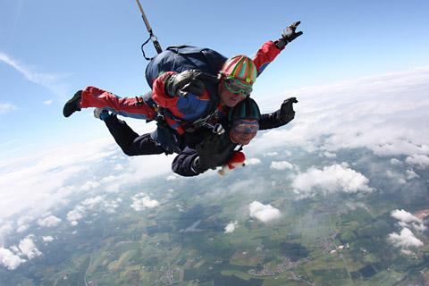 Derick Sargent pictured above on his tandem jump