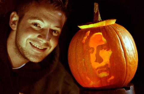 Dave Turner with one of his pumpkin carvings, Severus Snape, actor Alan Rickman, from Harry Potter