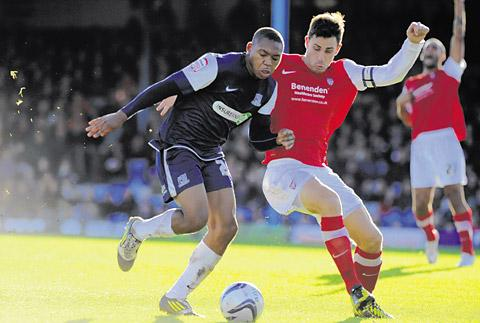 York City skipper Chris Smith in defensive action  at Southend