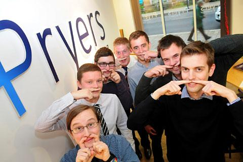 Movember time at Pryers with Jonny Gill, Jamie Paddock, Craig Slaney, James Godber, Cris Green, Chris Clayton and Michael Scobie