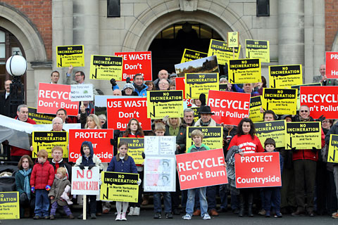 Protesters opposed to the incinerator make their voice heard in a protest last October at County Hall in Northallerton
