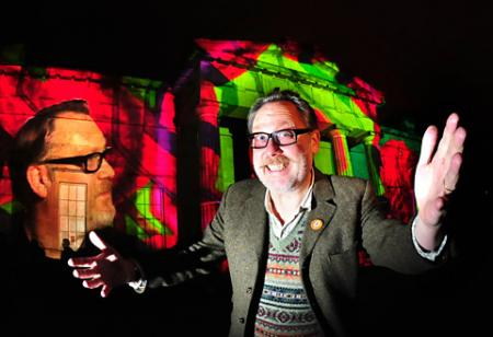 Vic Reeves at the preview of the Illuminating York festival in the Museum Gardens.