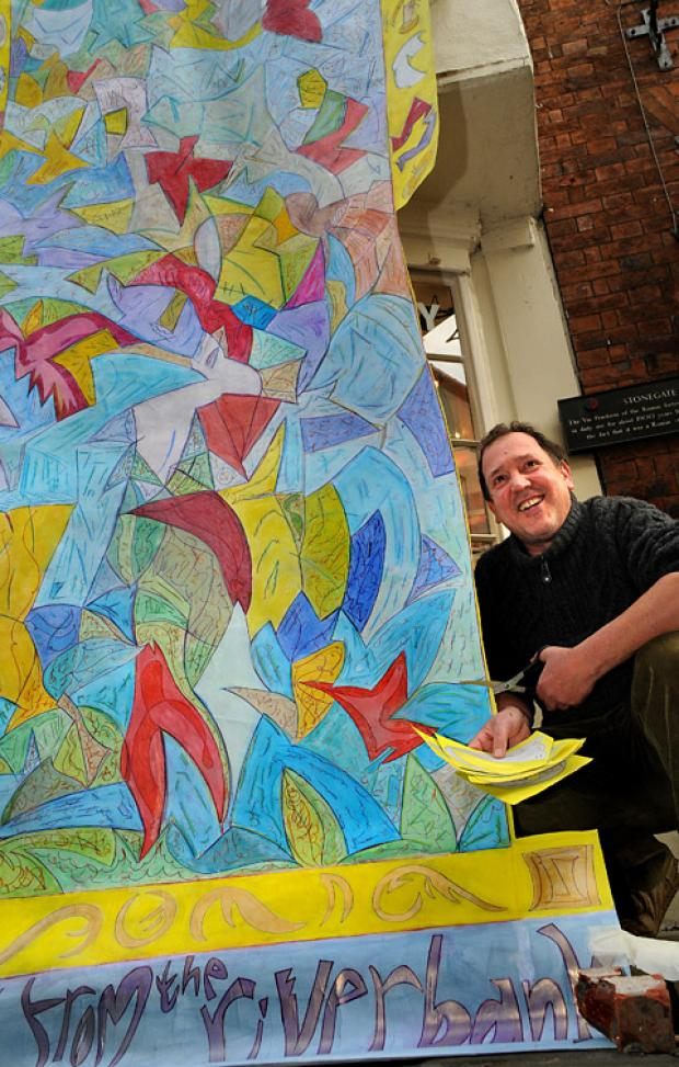 Artist Roddie Harris with his artwork, which he cut up and sold at the Pyramid gallery in Stonegate