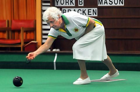 Pat Bracken, who led her York Indoor Bowls Club rink to away-day  triumph at North Cave