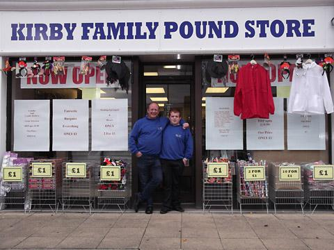 Former lottery winner Andy Kirby and his son, Craig Kirby, at the new shop in Acomb, York