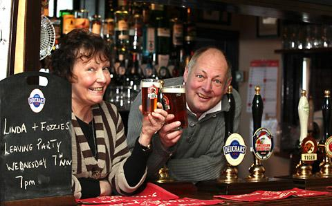 Linda and Dave Foster, who are retiring from  the The Golden Ball in Bishophill, York