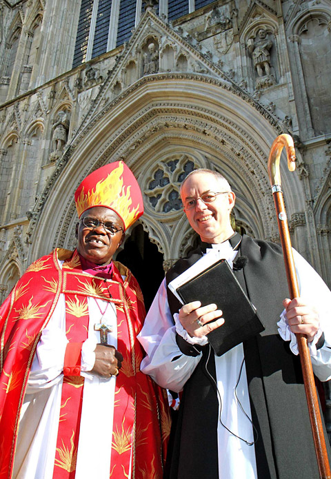 The Archbishop of York, Dr John Sentamu, left, and the Right Rev Justin Welby at York Minster