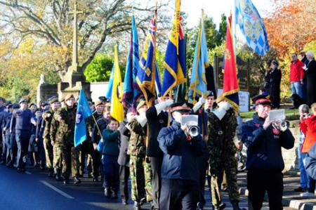 The parade marches off after the Malton Remembrance Service