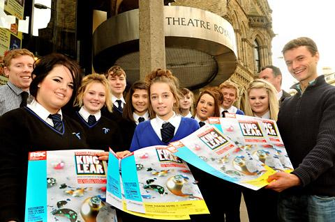 Julian Ollive, of York Theatre Royal,  meets a group of pupils from York High School