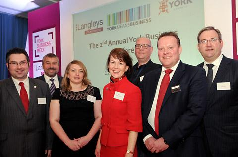 Panellists at York Racecourse during the York Business Conference, from left, James Alexander; Simon Gregory; Sophie Jewett; Di Burton; Marcus Romer; Tim Cross and Tom Vosa.