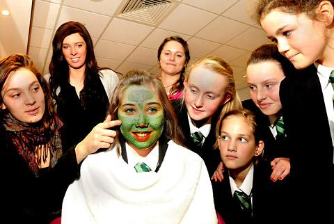 Joseph Rowntree pupil gets the face mask treatment from Lush training manager Nassira Cheref, with from left, Julie Atkinson, Joseph Rowntree hair and beauty head of department,  Naomi Wells Smith of Sustrans and other pupils from the school.