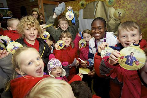 Drax Primary School pupils with Olympic boxer Nicola Adams at the opening of the new Skylark Centre and Nature Reserve