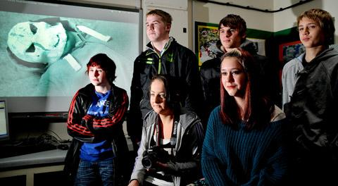 Young film makers back, from left, Jordan Davis, Arri Mason and Jack Johnson, front, from left, Alicia Hardy, Loren Rice and director Ellie Boyes are hoping to celebrate success