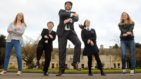 Teacher Adam Dawson, centre, with pupils, from left, Jess Orr, Ben Prudhoe, Rachael McHenery and Natalie Prince demonstrate the Tad Gram Style