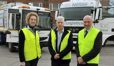 Tracey Simpson-Laing,  Graham Lyon and Geoffrey Derham at the Nestlé site