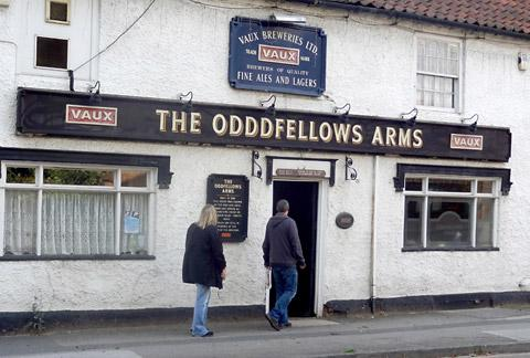 The Odddfellows Arms in Carlton, near Selby, with its distinctive sign