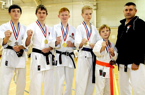 Instructor Ian Tate, far right, with, from left, Jerome Barlow, Aron Blair, Alistair Bevan, Sam Hudson and Frankie McClements, representing his dad Andy