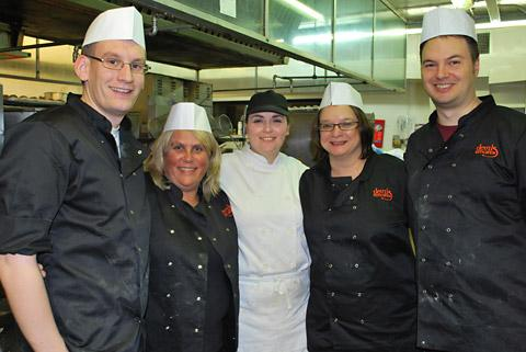The HSBC chefs, from left, Rob Barker, Louise Reid, Louise Anderson (chef at Holiday Inn), Nicola Noble and  Matt Hobbah