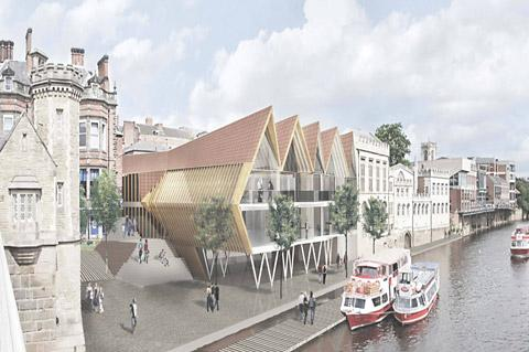 One of the shortlisted entries to the competition to redesign the Guildhall riverside area of York
