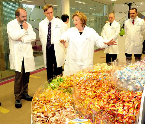 York Press: Stefan Palzer, second left, managing director of Nestlé PTC York, and Fiona Kendrick, CEO and chairman of Nestlé UK and Ireland, show Environment Minister David Heath a range of confectionery produced by a Nestlé company in China during his visit