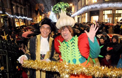 York Theatre Royal pantomime dame Berwick Kaler switches on the Christmas lights, with the Lord Mayor of York, Coun Keith Hyman, on the steps of the Mansion House