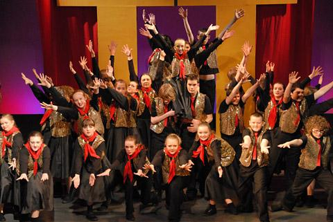 Youngsters on stage for the York Scout & Guide Gang Show