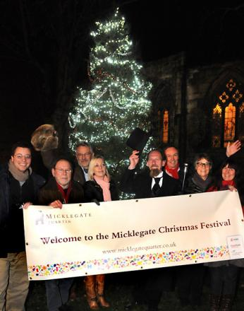 Jack Baber, left, with councillors Sandy Fraser and Julie Gunnell and local traders at the Micklegate switch-on