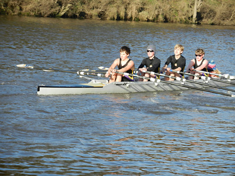 The winning York City Rowing Club J14 quad scull of, from left, Alex Press, Alex Howe, Tom Roberts, and Connor McGahon in the York Small Boats Head on the River Ou