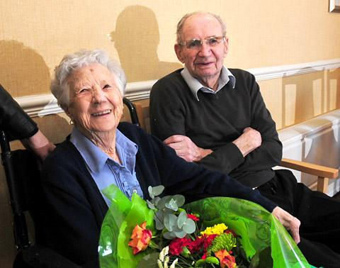 John and Edith Hitching  celebrating their 70th anniversary