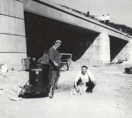 York Press: Ray Barker's father-in-law Mac Naylor, right, on site with his dog