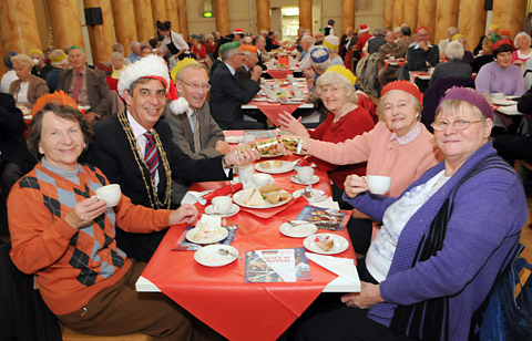 The Lord Mayor of York, Coun Keith Hyman, joins in the fun during the Christmas Cheer event at the Assembly Rooms, with, from left, Edeltraud Ludwig, Colin Foster, Joyce Foster, Beryl Lockwood and Patricia Hawksby