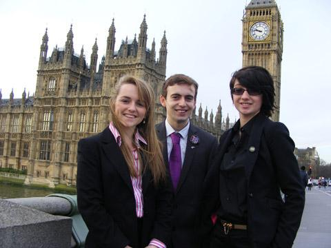 Emily Nicholas, Liam Cutler and Lizzie Callinan at Westminster